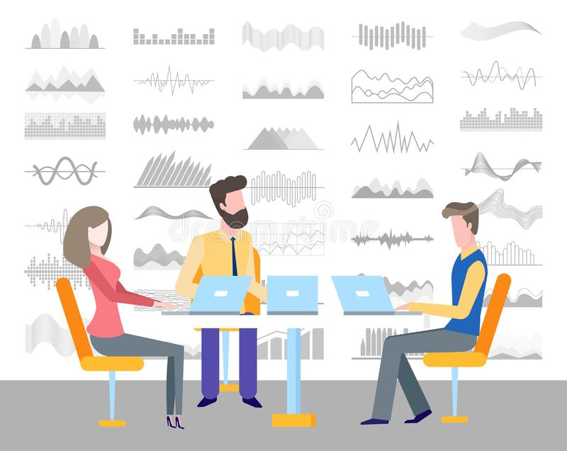 People Sitting on Conference Discussing Infocharts. Infocharts and infographics vector. Business meeting seminar of colleagues with laptops discussing flowcharts vector illustration