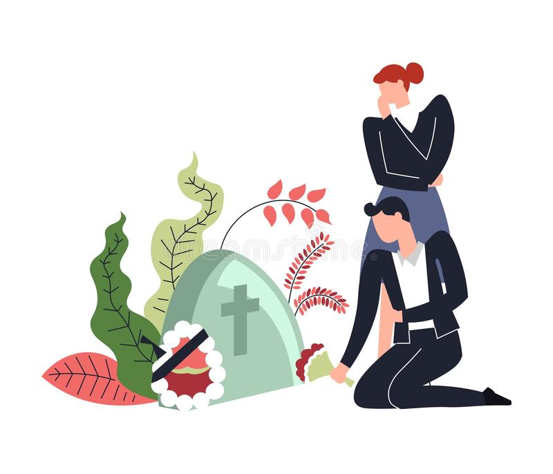 People sitting by gravestone of deceased person wreath and flowers. In bloom vector cross on tombstone cemetery place with man and woman crying over dead body vector illustration