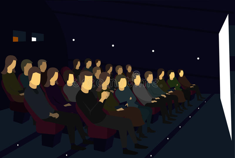 People sitting in a movie theater. Watch camera angle. Racurs with side. Is seen face. stock illustration