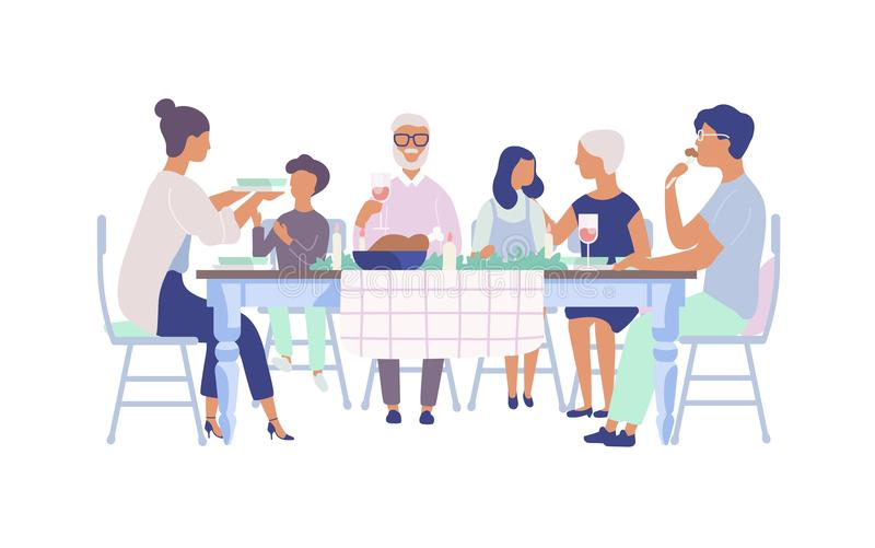 People sitting at table decorated with candles, eating food, drinking wine and talking to each other. Family holiday stock illustration
