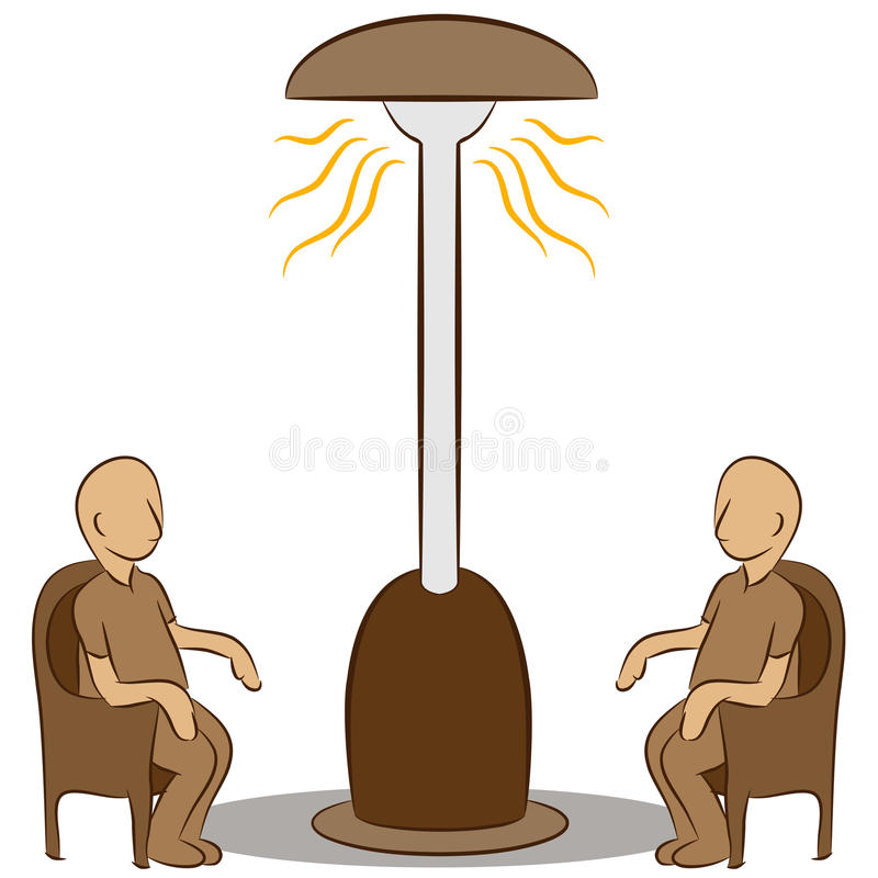 Download People Sitting Under A Lamp Heater Stock Vector - Image: 23855649