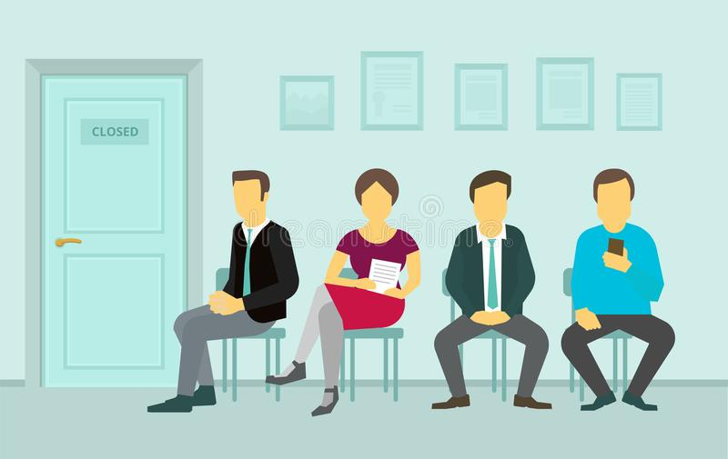 People sitting and waiting in the queue door to office stock illustration