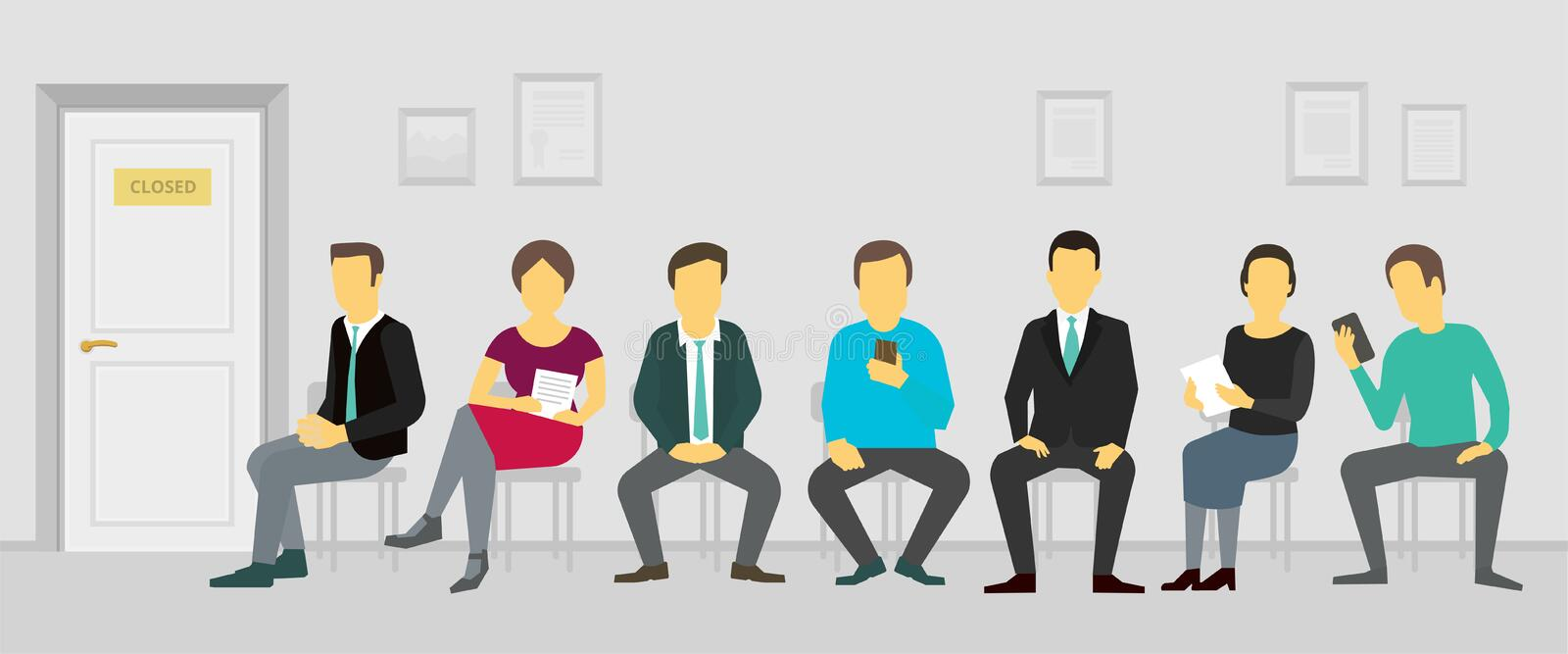 People sitting and waiting in the queue door to office. Recruitment business casting royalty free illustration