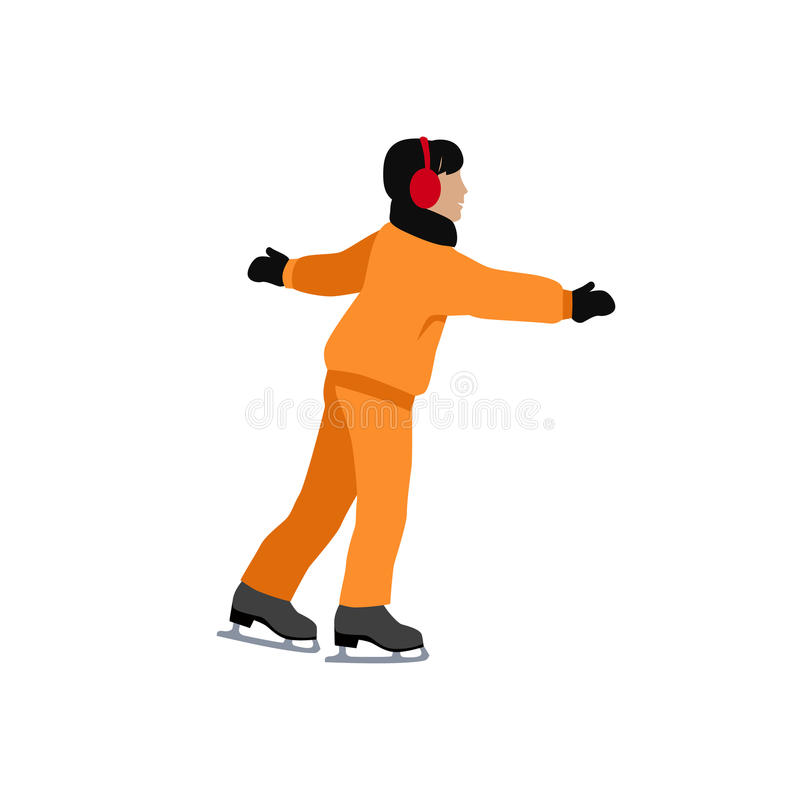 People Skating Flat Style Design royalty free illustration