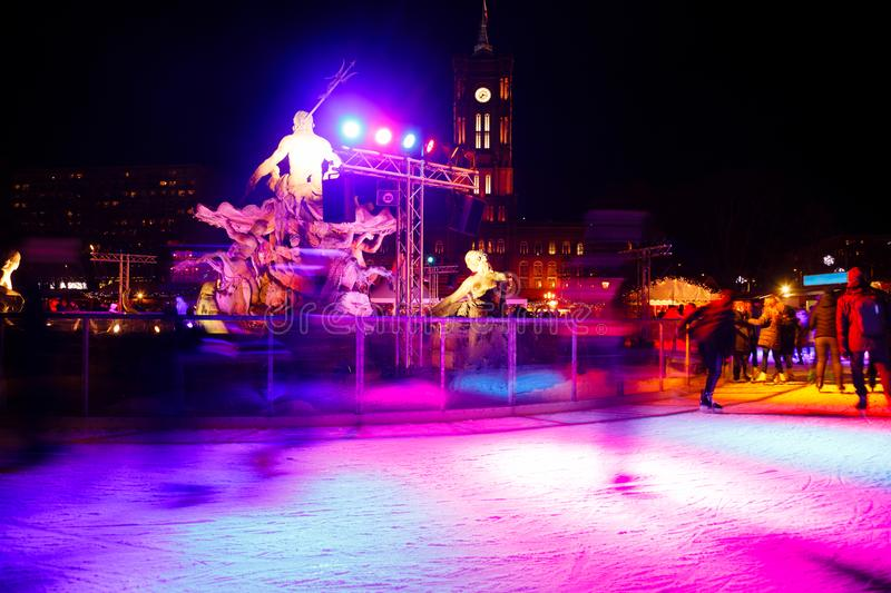 Christmas Market Ice Rink at night Mitte Berlin Germany stock photography