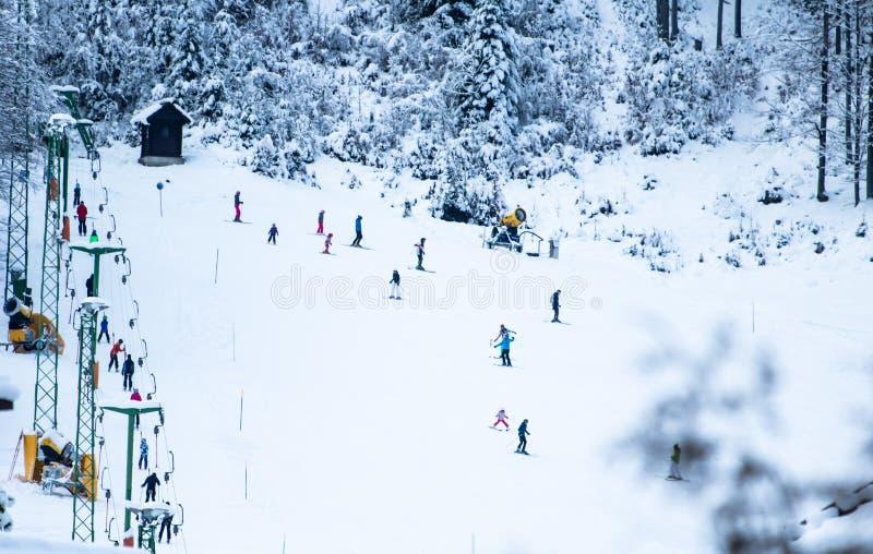 People skiing on slopes in winter scenery in Kranjska Gora in Julian Alps, Slovenia stock photography