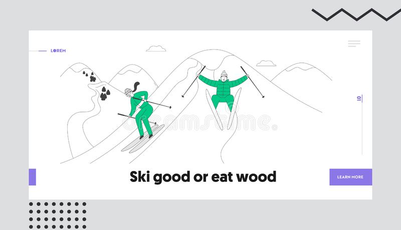 People Skiing Website Landing Page. Man and Woman Skiers Riding Skis Downhill at Winter Season. Sport Activity vector illustration