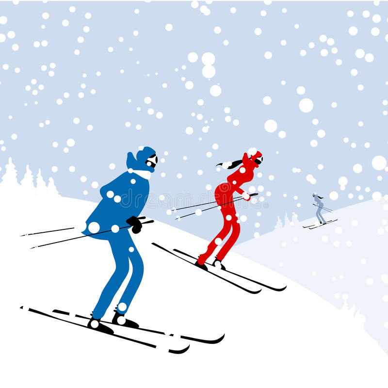 Download People Skiing, Winter Mountain Landscape For Your Stock Vector - Illustration of coon, downhill: 30362309