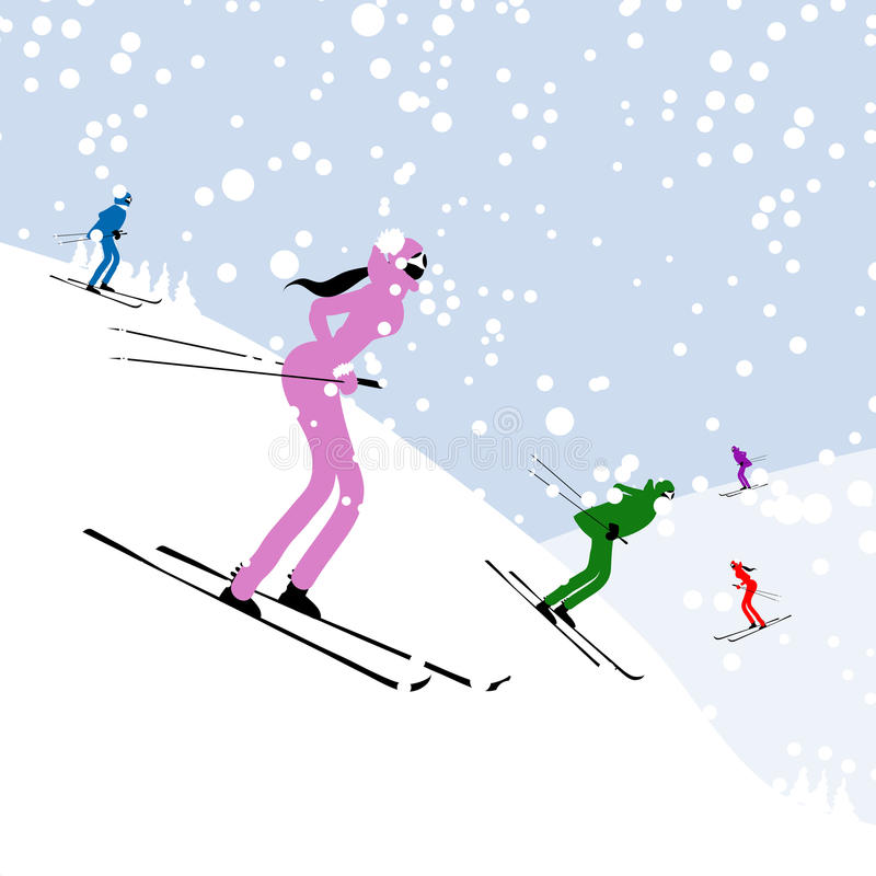 People Skiing, Winter Mountain Landscape For Your Stock Photos
