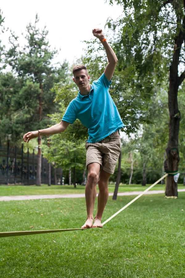 People in the slackline royalty free stock photography