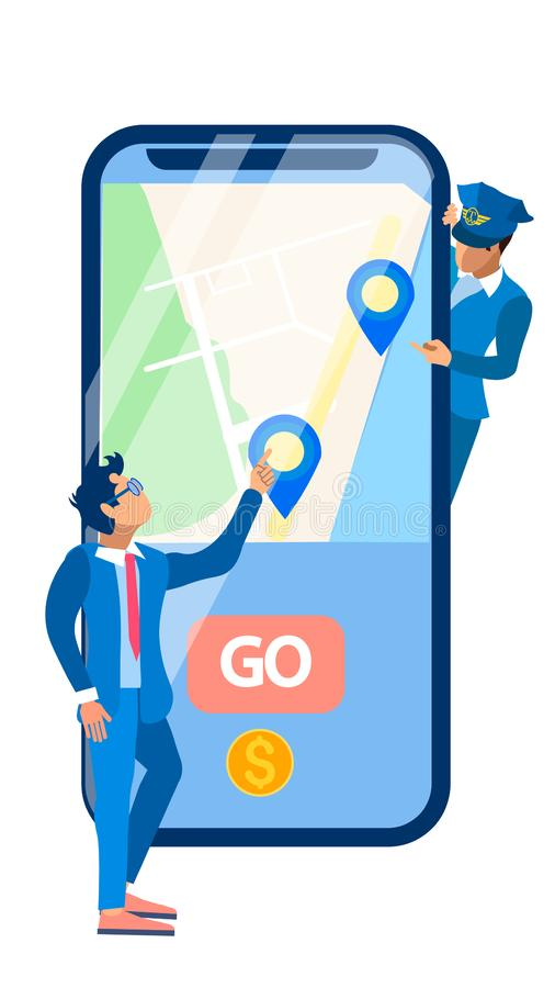 People and Smartphone Flat Vector Illustration. Chauffeur, Cab Driver and Client Cartoon Characters. City Map, Location Marks, Go Button on Phone Screen. Urban vector illustration