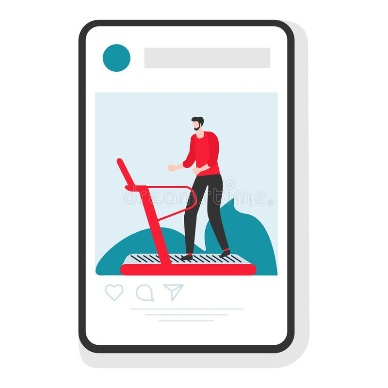People smartphone sport app Healthy lifestyle. Vector illustration with man engaged on treadmill in the gym. Sports mobile application. Fitness app. Workout for royalty free illustration