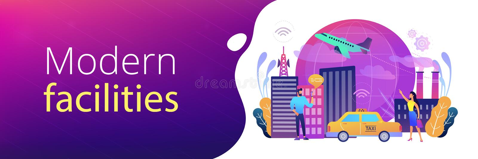 Global internet of things smart city header banner vector illustration