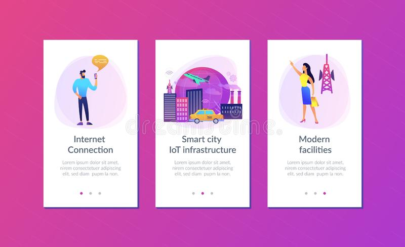 Global internet of things smart city app interface template. People with smartphones around modern facilities connected to global web network with wi-fi signs vector illustration
