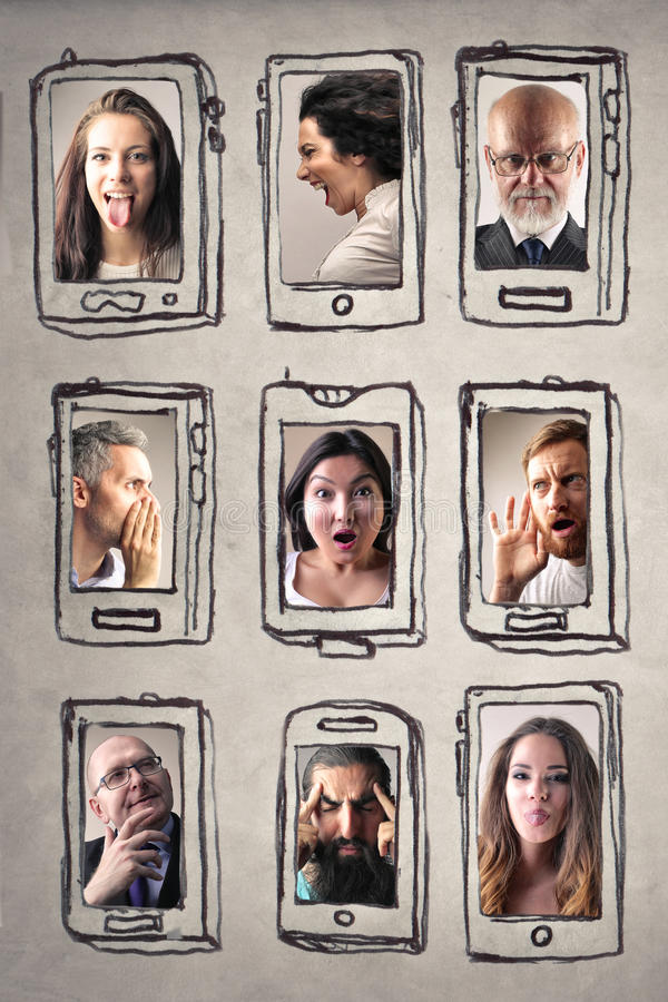 People and smartphones royalty free stock photos