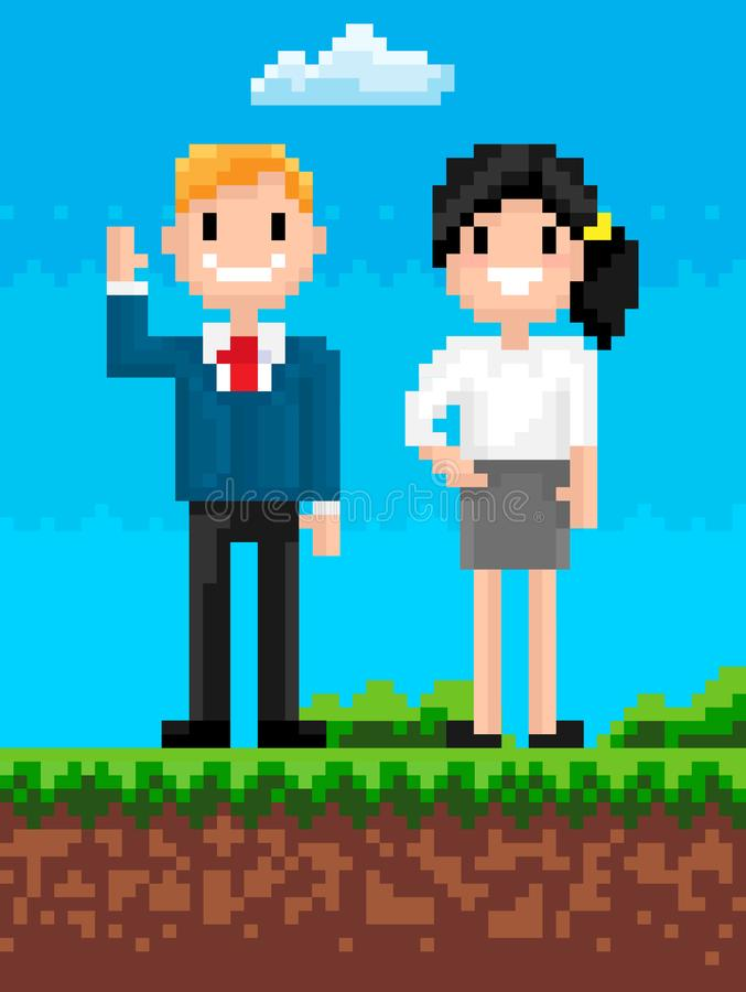 People Smiling and Waving, Pixel Characters Vector royalty free illustration