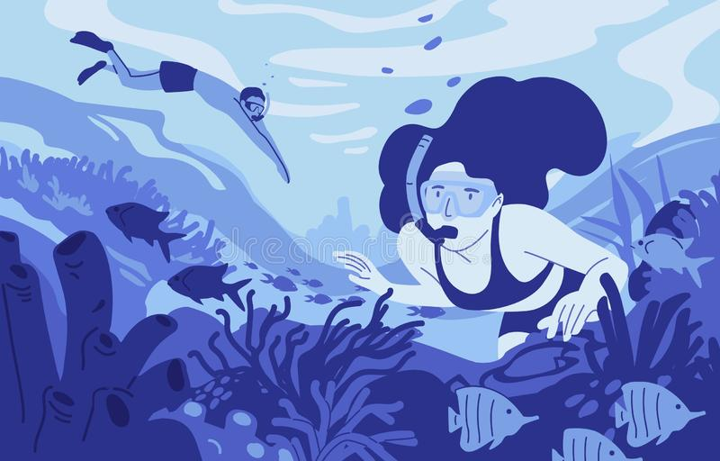People snorkeling flat vector illustration. Diving summer recreational activity. Water sport, extreme hobby. Man and stock illustration