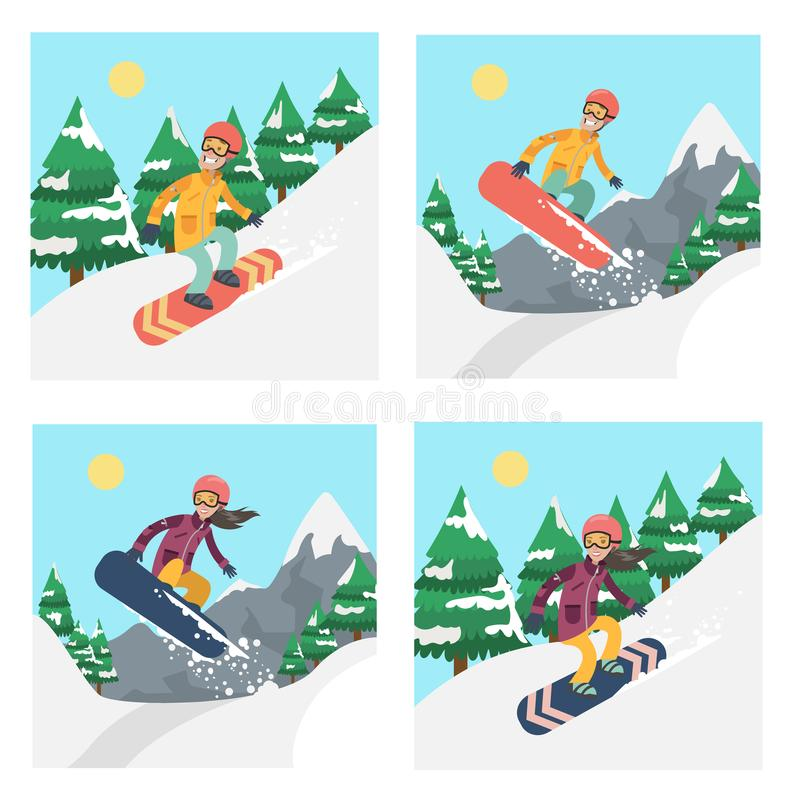 People on snowboard set. stock illustration