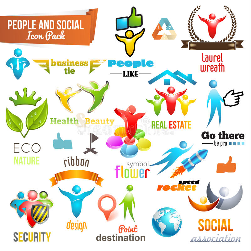 People Social Community 3d icon and Symbol Pack vector illustration