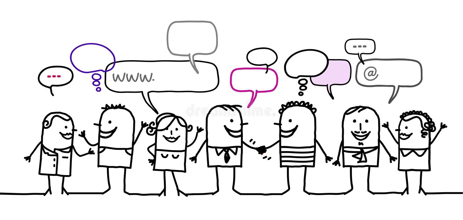 People & social network. Hand drawn cartoon characters - people & social network stock illustration