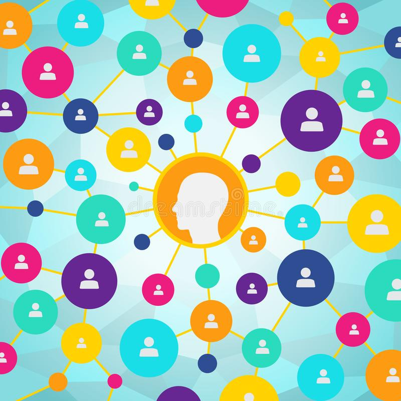 People in a social network, communication, contacts, business. Social media flat design icons stock illustration