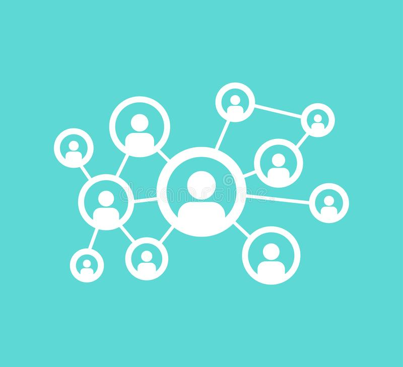 People social network communication, intranet global relationship connection icons. Friends networking vector isolated symbols. Business network and social royalty free illustration