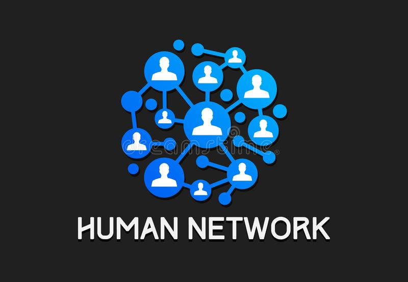 People social network technology vector. Teamwork illustration royalty free illustration