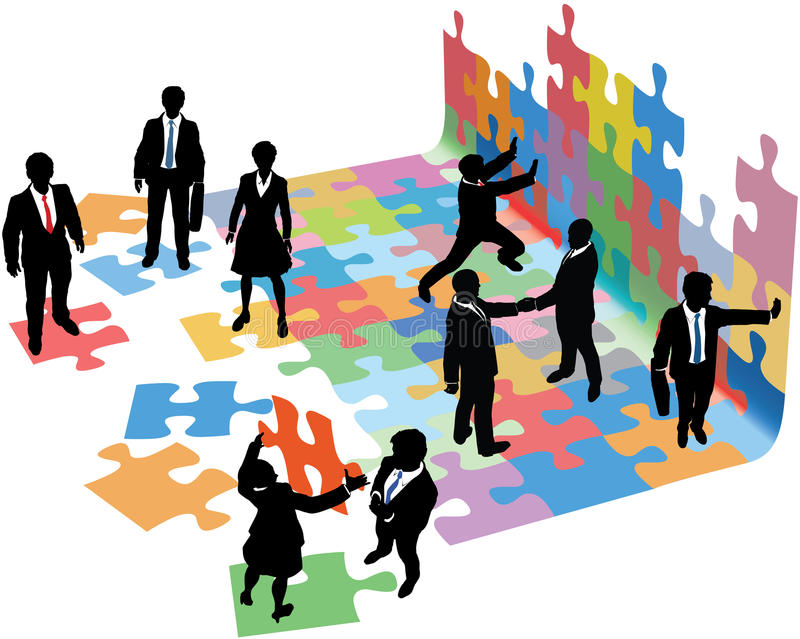 People solve problems to build business startup. Business people collaborate to put pieces together find solution to puzzle and build startup vector illustration