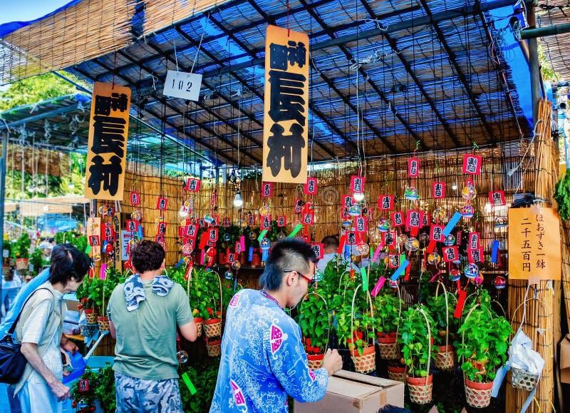 People at souvenir shop near the Sensoji Temple in Asakusa, Japan stock image