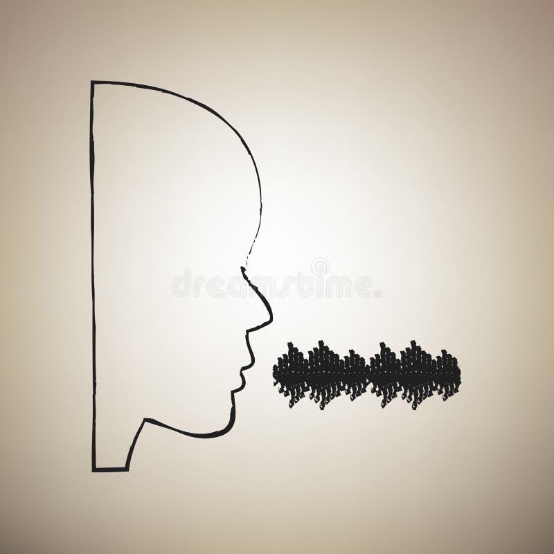 People speaking or singing sign. Vector. Brush drawed black icon royalty free illustration