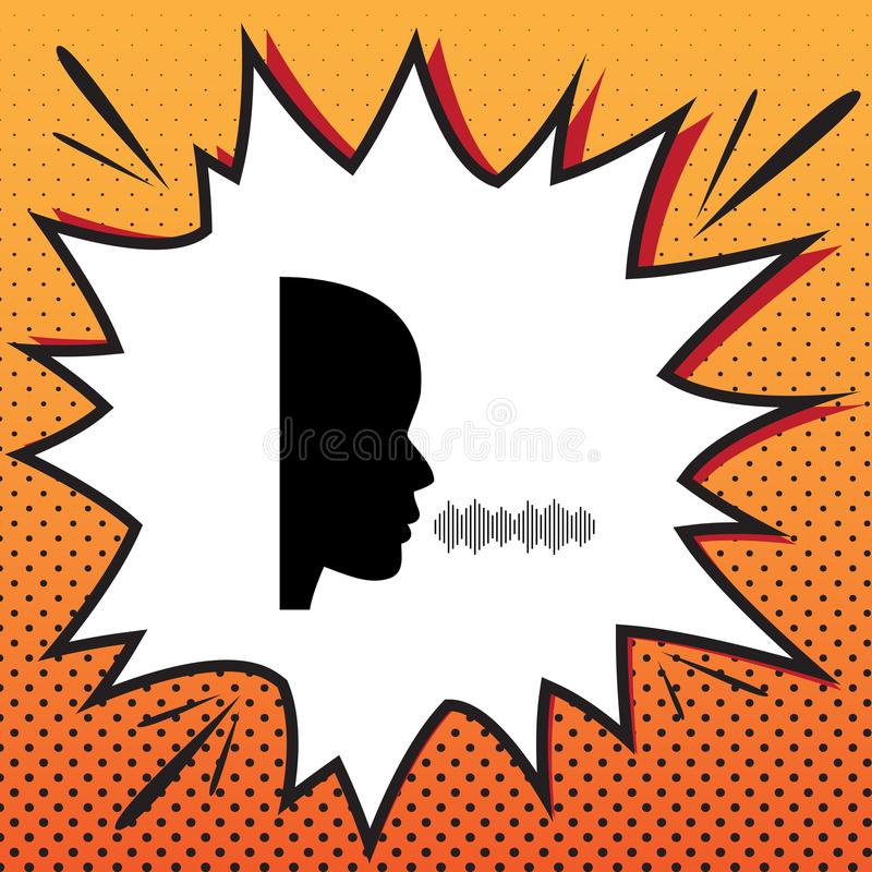 People speaking or singing sign. Vector. Comics style icon on po vector illustration