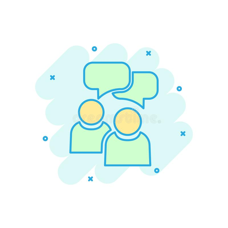 People with speech bubble icon in comic style. Business agreement vector cartoon illustration pictogram. Partnership talk business vector illustration