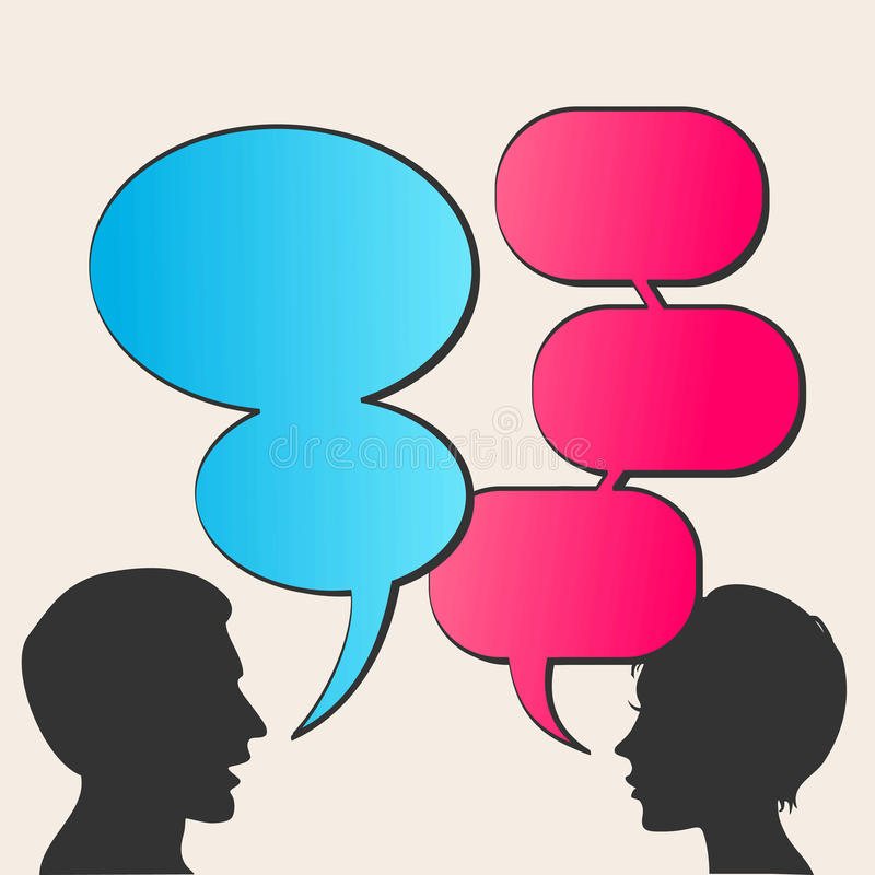 People with speech bubbles vector illustration