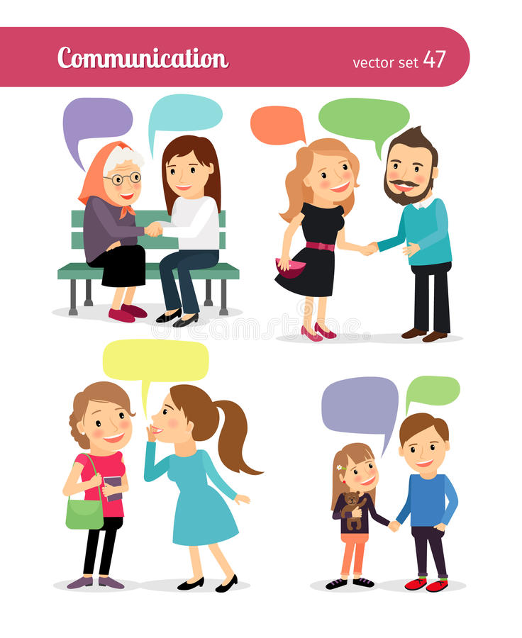 People with speech bubbles. Vector illustration royalty free illustration