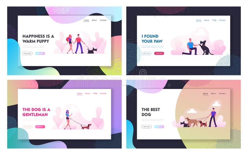 People Spend Time with Pets Outdoors Website Landing Page Set. Characters Walking and Playing with Dogs Relaxing Open Air stock photo