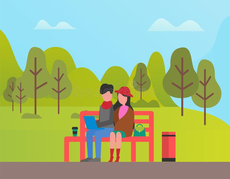 Couple Sitting in Park, man and Woman Relaxing vector illustration