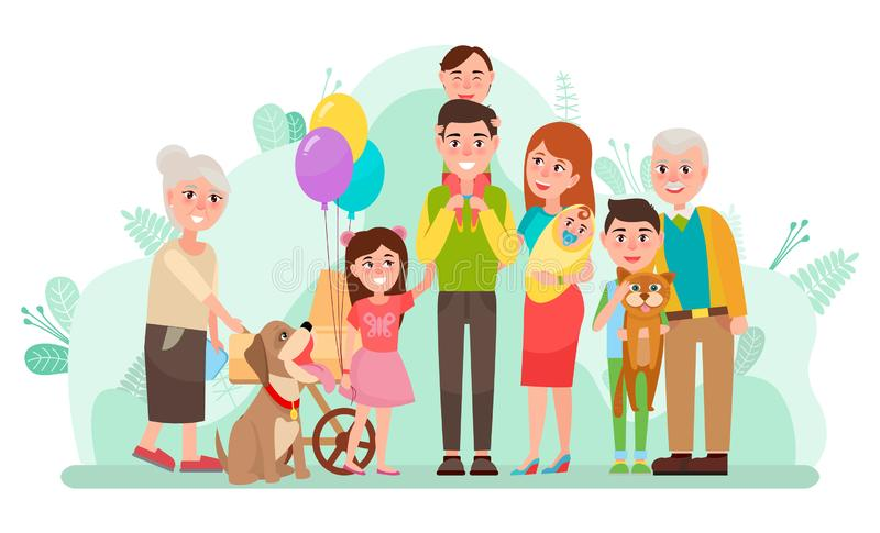 Family Day Mother Father Children Grandparents. People spending time together vector, family unity. Mother and father with son and daughter, grandmother and stock illustration