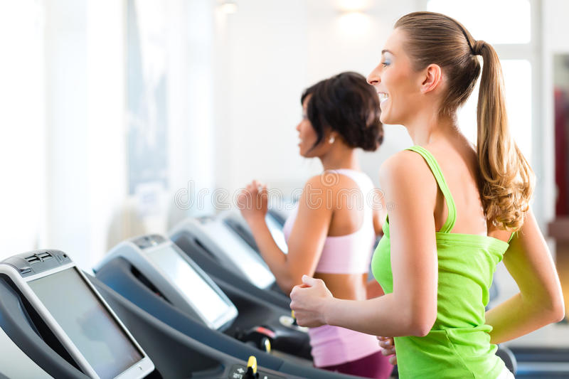 People in sport gym on treadmill running stock photo for Gimnasio yong