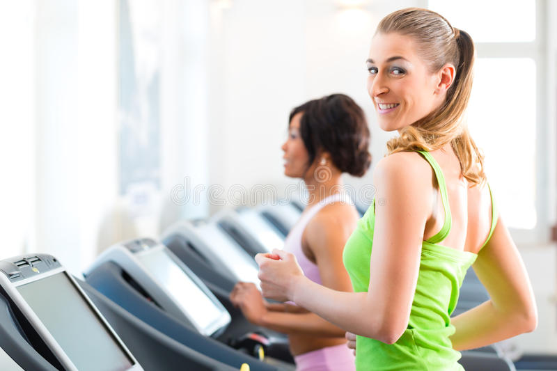 Download People In Sport Gym On Treadmill Running Stock Photo - Image of healthy, people: 32187810