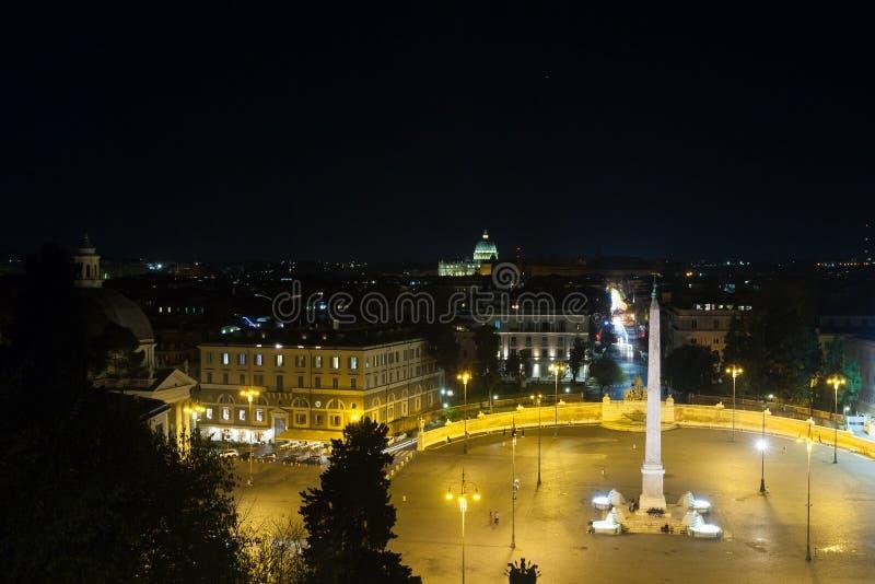 People square Rome night view, Piazza del popolo, Roma. People square night view, Rome. Piazza del popolo, Roma. Italian landmark italy roman empire saint peter royalty free stock photos