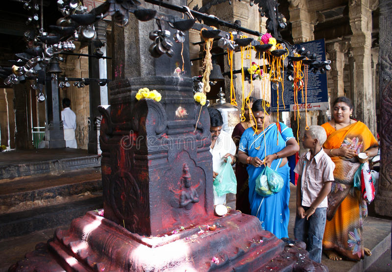 People in Srirangam temple, India royalty free stock image