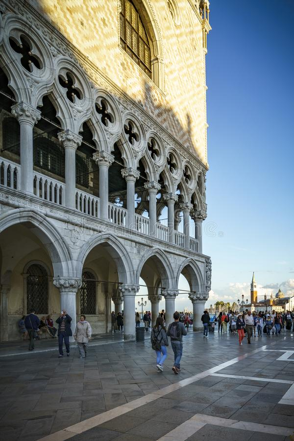 People on the st marks square in front of the doges palace in venice, italy 2. Many people on the st marks square in front of the doges palace in venice, italy stock photography