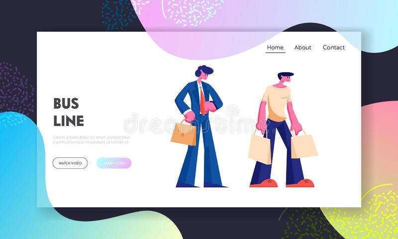 People Stand on Bus Station Website Landing Page, Businessman Watching on Watches, Man with Shopping Bags, City Transport stock illustration