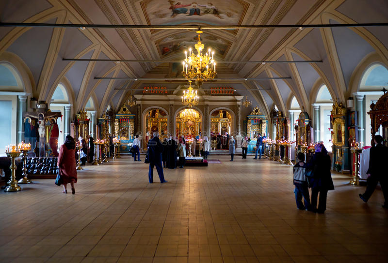 People stand in church. Of Novodevichy convent in Moscow royalty free stock images