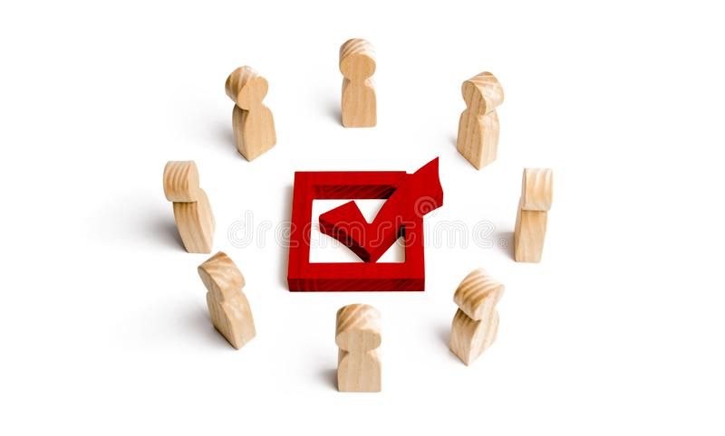 People stand in a circle and look at the red check mark in the box. election, poll or referendum. Poll people. Voters participate vector illustration