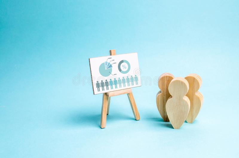 People stand near the canvas with graphs and reports. Business report, summary and planning. Market research and analysis. Concept. Of business processes stock image