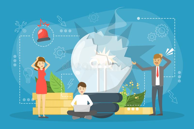 People standing at the broken bulb. Business failure concept. Lack of creativity, bad idea. Vector illustration in cartoon style royalty free illustration
