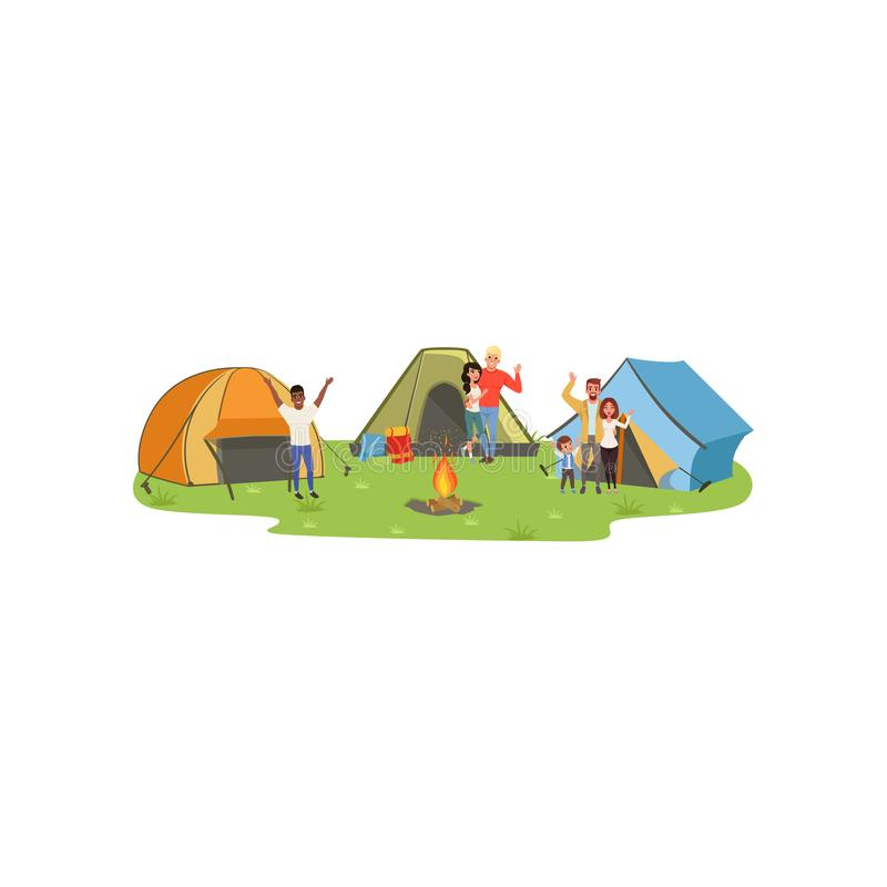 People standing near tourist tents, tourists enjoying camping, traveling and relaxing concept, summer vacations vector. Illustration isolated on a white vector illustration