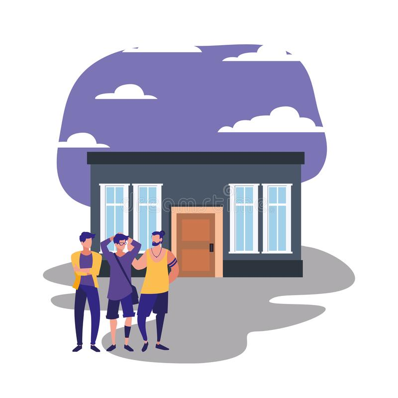 People standing next house stock illustration