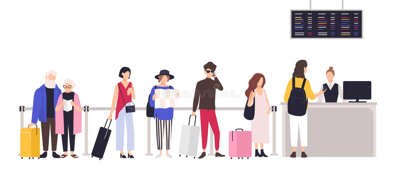 People standing in queue or line to check-in desk in order to register for flight. Men and women with baggage waiting. For plane departure at airport. Colored vector illustration